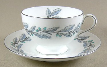 Make sure your browser can show photos and reload this page to see Minton China Elizabethan Oak - Blue-Grey S641 Cup and saucer set blue/grey; 2 3/8