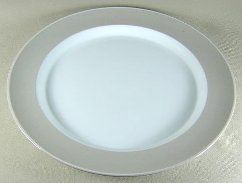 Make sure your browser can show photos and reload this page to see Dansk China Adagio - Taupe Chop/round platter 13 1/4