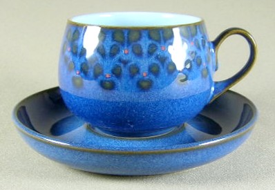 Make sure your browser can show photos and reload this page to see Denby - Langley China Midnight Cup and saucer set 2 5/8