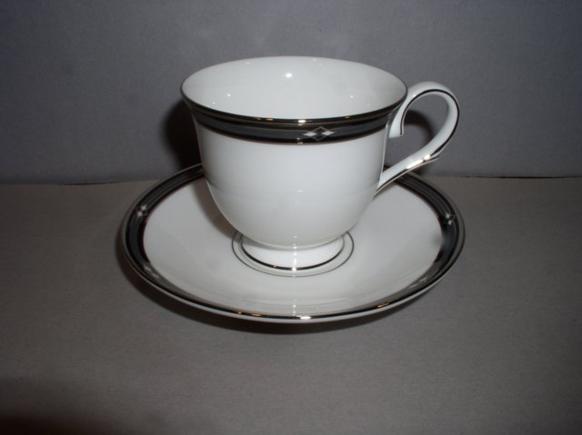 Make sure your browser can show photos and reload this page to see Lenox China Diamond Solitaire Cup and saucer set