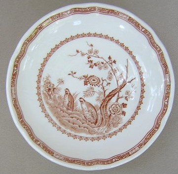 Make sure your browser can show photos and reload this page to see Furnival Stoneware Quail-Brown  Saucer only