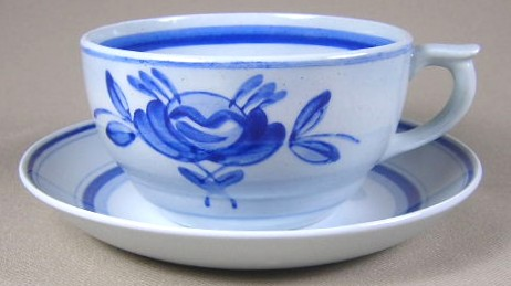 Make sure your browser can show photos and reload this page to see Arabia Of Finland China Blue Rose Cup and saucer set  2