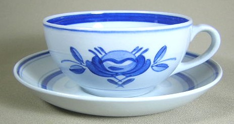 Make sure your browser can show photos and reload this page to see Arabia Of Finland China Blue Rose Cup and saucer set 1 7/8 tall - rounded handle