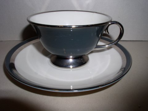 Make sure your browser can show photos and reload this page to see Gorham China Black Contessa Cup and saucer set --Flintridge