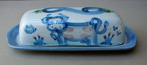 Make sure your browser can show photos and reload this page to see Hadley, M. A. Stoneware Country Scene-Blue  Butter dish/covered Cow