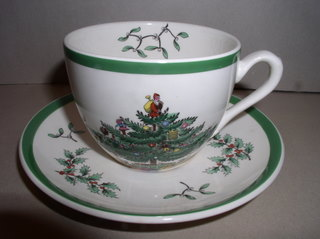 Make sure your browser can show photos and reload this page to see Spode China Christmas Tree S3324 Cup and saucer set --2 1/2