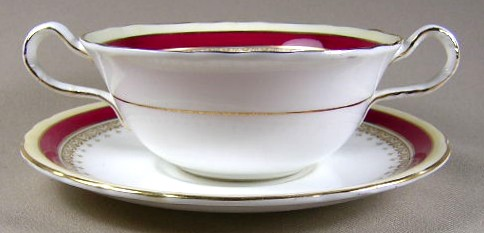 Make sure your browser can show photos and reload this page to see Aynsley & Sons Wendover-Maroon Cream soup bowl and stand