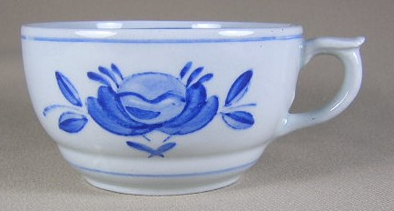 Make sure your browser can show photos and reload this page to see Arabia Of Finland China Blue Rose Cup only (no saucer)  pointed handle 2
