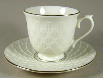 Make sure your browser can show photos and reload this page to see Lenox China Jacquard Gold Cup and saucer set 3 3/8