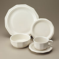 Make sure your browser can show photos and reload this page to see Pfaltzgraff China Heritage - White Place setting 5-piece  dinner plate & bread plate have minor wear other pieces good