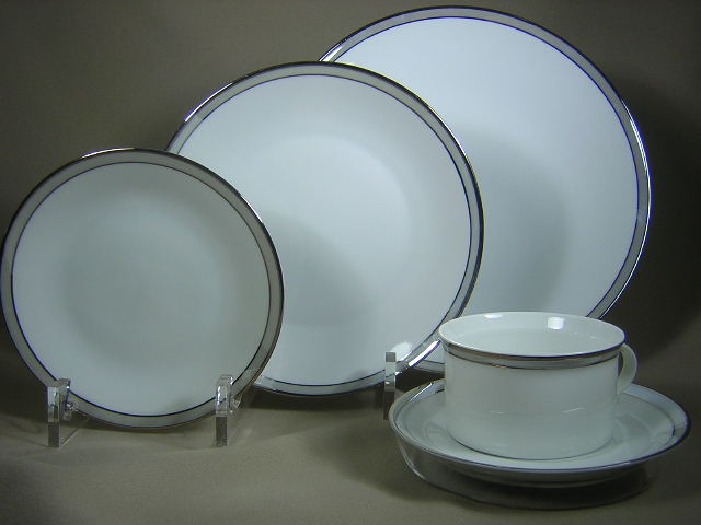 Make sure your browser can show photos and reload this page to see Rosenthal - Continental China Gala Grey 4042  Place setting 5-piece   dinner, salad,bread,cup & saucer