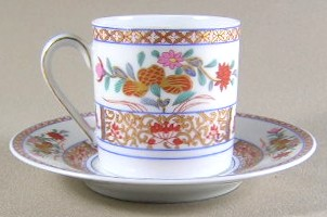 Make sure your browser can show photos and reload this page to see Bernardaud China Pondichery Demitasse cup and saucer 2 1/8