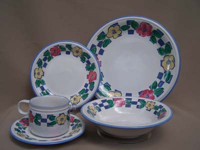Make sure your browser can show photos and reload this page to see Christopher Stuart China Village Bistro Y2339 Place setting 5-piece  dinner, salad, cup & saucer, soup bowl