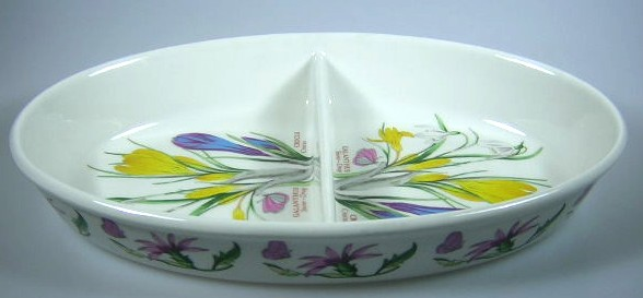 Make sure your browser can show photos and reload this page to see Portmeirion Dinnerware Botanic Garden  Oval veg, divided  Crocus 11