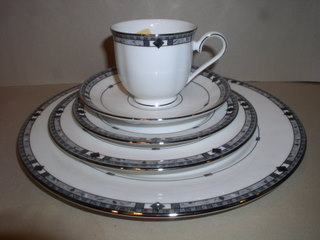 Make sure your browser can show photos and reload this page to see Lenox China Kara Place setting 5-piece  --Cup,saucer,dinner,salad,B&B plates