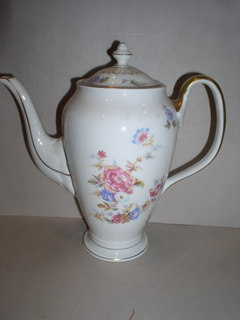 Make sure your browser can show photos and reload this page to see Castleton - USA China Sunnybrooke  Coffeepot and lid --Name on piece is