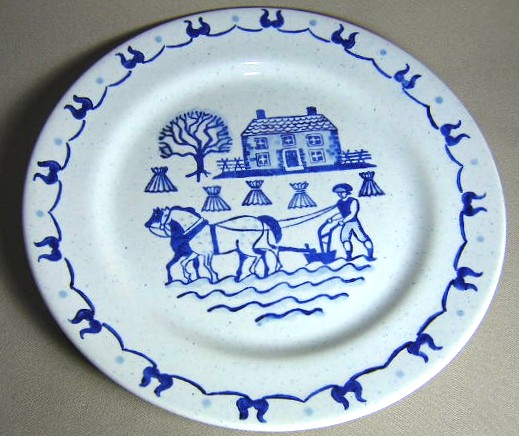 Make sure your browser can show photos and reload this page to see Metlox-Poppytrail-Vernon Pottery Provincial Blue - Rim Dinner plate gently used/ 10