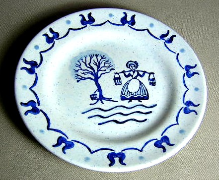 Make sure your browser can show photos and reload this page to see Metlox-Poppytrail-Vernon Pottery Provincial Blue - Rim Bread and butter plate  6 3/8