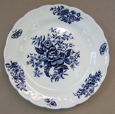 Make sure your browser can show photos and reload this page to see Booths China Peony - Blue A8021 Bread and butter plate 6  1/2