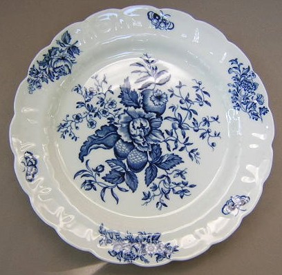 Make sure your browser can show photos and reload this page to see Booths China Peony - Blue A8021 Dinner plate 9 7/8