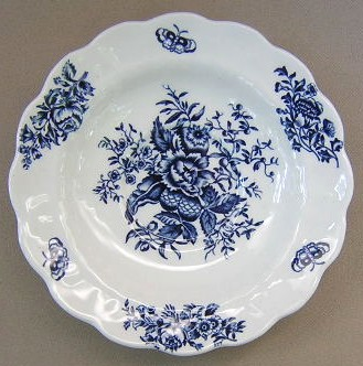 Make sure your browser can show photos and reload this page to see Booths China Peony - Blue A8021 Saucer only 6 1/4