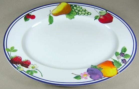 Make sure your browser can show photos and reload this page to see Lenox China Fruit Groves 56 Platter, medium 14 1/2