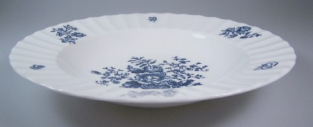 Make sure your browser can show photos and reload this page to see Royal Worcester China Blue Sprays - White, Ribbed Edge Z2817 Soup bowl, rim shape 8 1/8