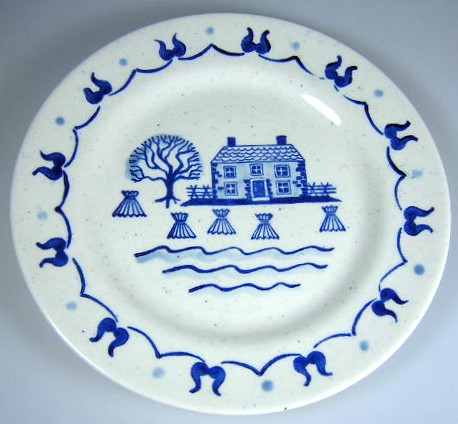 Make sure your browser can show photos and reload this page to see Metlox-Poppytrail-Vernon Pottery Provincial Blue - Rim Salad plate 7 1/2