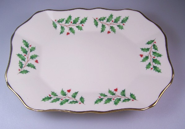 Make sure your browser can show photos and reload this page to see Lenox China Holiday Relish  rectangular, scalloped tray, 8 7/8