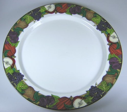 Make sure your browser can show photos and reload this page to see Dansk China Cornucopia Chop/round platter 13 1/8