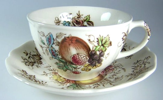 Make sure your browser can show photos and reload this page to see Johnson Brothers Dinnerware  Windsor Fruit Cup and saucer set ribbed border