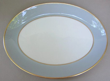 Make sure your browser can show photos and reload this page to see Flintridge China Sylvan - Gray Rim, Gold Trim, Rim Platter, medium  scratches