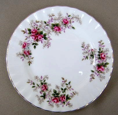 Make sure your browser can show photos and reload this page to see Royal Albert China Lavender Rose Dinner plate  gently used 10 3/8