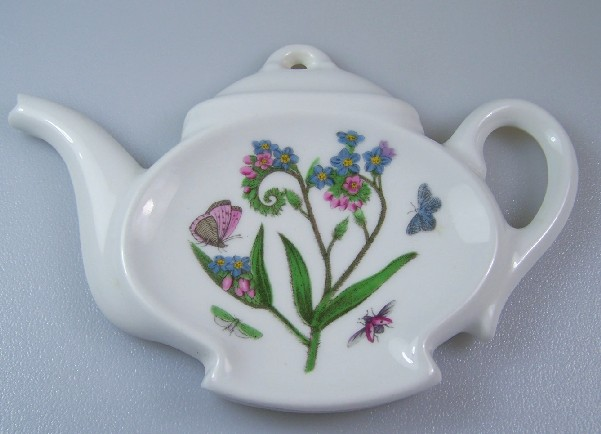 Make sure your browser can show photos and reload this page to see Portmeirion Dinnerware Botanic Garden  Spoon rest tea bag holder/spoon rest, teapot shaped 5 7/8
