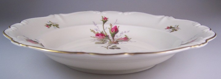 Make sure your browser can show photos and reload this page to see Rosenthal - Continental China Moss Rose - Ivory - Pompadour Soup bowl, rim shape 8 1/2