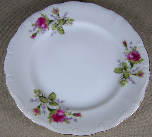 Make sure your browser can show photos and reload this page to see Japan China Moss Rose - Scalloped Edge  Salad plate 7 1/2