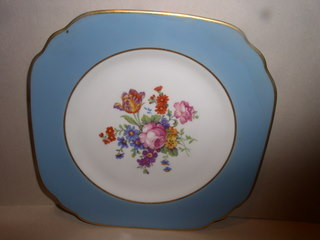 Make sure your browser can show photos and reload this page to see Syracuse China Edmonton Salad plate, square -flower decal-9