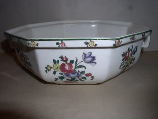 Make sure your browser can show photos and reload this page to see Royal Doulton China Old Leeds Spray D3548 Covered veg, round, (bottom only) --8 7/8