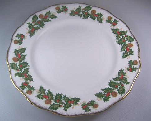 Make sure your browser can show photos and reload this page to see Rosina - Queens China Yuletide (Scalloped)  Dinner plate eros 10 5/8