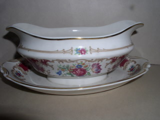 Make sure your browser can show photos and reload this page to see Syracuse China Romance - Maroon Gravy-attached stand
