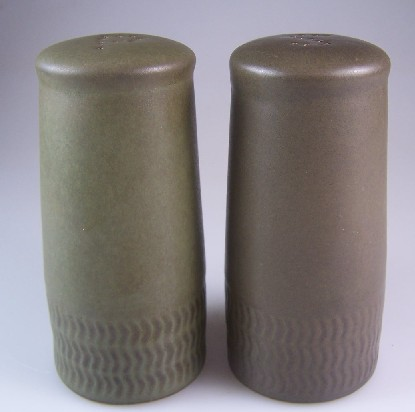 Make sure your browser can show photos and reload this page to see Denby - Langley China Camelot - Dark Green Salt and Pepper set
