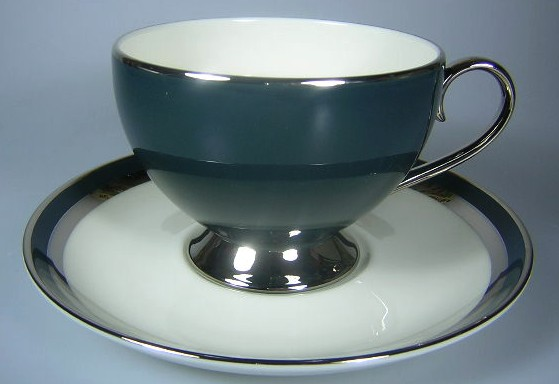 Make sure your browser can show photos and reload this page to see Gorham China Black Contessa Cup and saucer set 3 1/2