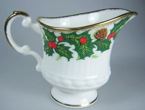 Make sure your browser can show photos and reload this page to see Rosina - Queens China Yuletide (Scalloped)  Creamer eros 3 1/4