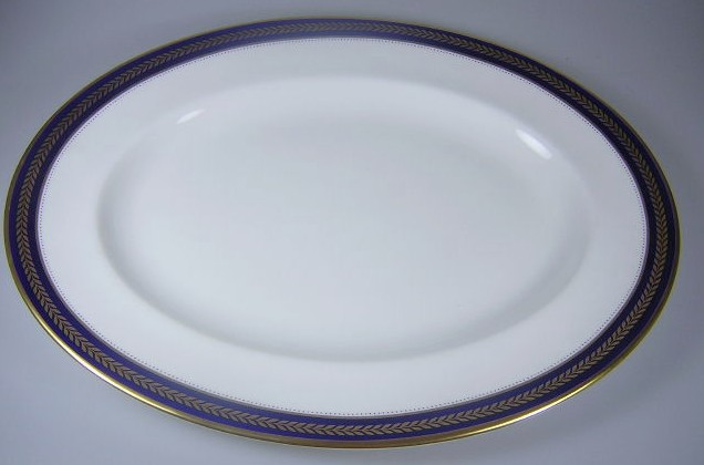 Make sure your browser can show photos and reload this page to see Coalport China Blue Wheat  Platter, medium 14 1/4