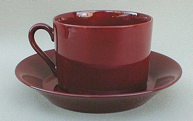 Make sure your browser can show photos and reload this page to see Fitz & Floyd China Total Color - Cinnabar Cup and saucer set round; 3 1/8