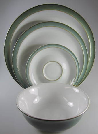 Make sure your browser can show photos and reload this page to see Denby - Langley China Regency Green Place setting 4-piece dinner, saucer, salad, soup/cereal
