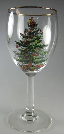 Make sure your browser can show photos and reload this page to see Spode China Christmas Tree S3324 Goblet, water  7 1/4