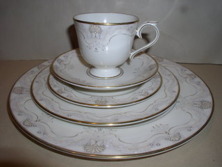 Make sure your browser can show photos and reload this page to see Lenox China Richelieu Court Place setting 5-piece  --cup,sau,dinner,salad,B&B plates