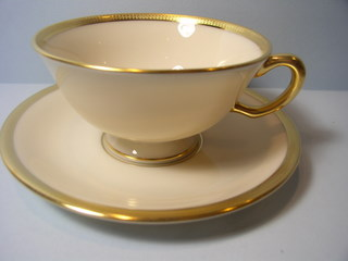 Make sure your browser can show photos and reload this page to see Lenox China Tuxedo J33 Cup and saucer set --Cup-2 1/8