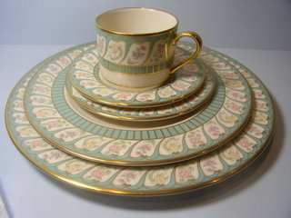 Make sure your browser can show photos and reload this page to see Lenox China Boheme Place setting 5-piece  --Cup,sau,dinner,salad,B&B plates